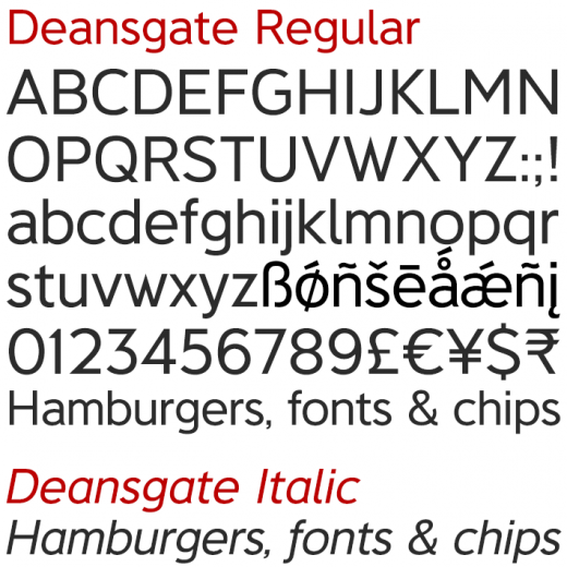 Deansgate Regular and Italic