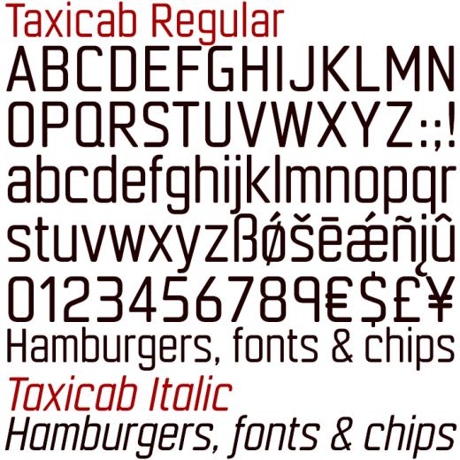 Taxicab Regular & Italic